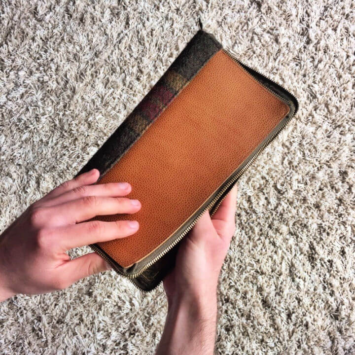 Leather and Tweed Travel Documents Holder