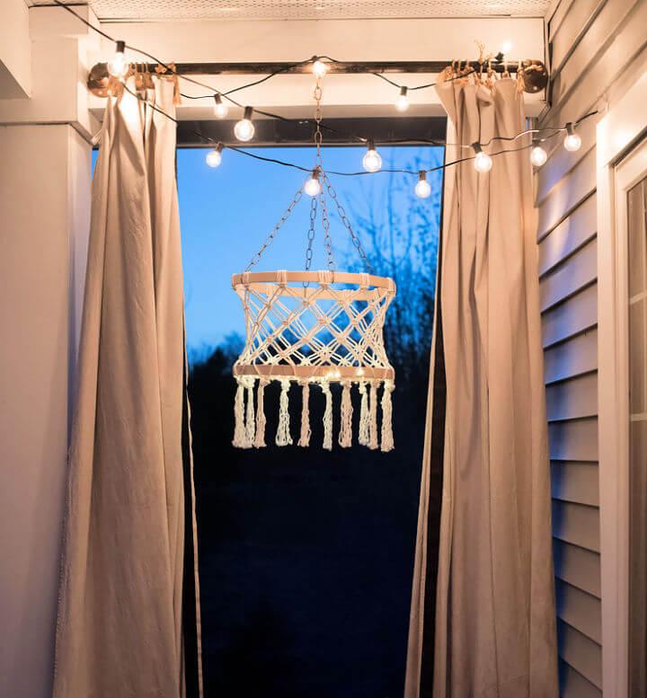 Macrame Boho Chandelier with Fairy Lights
