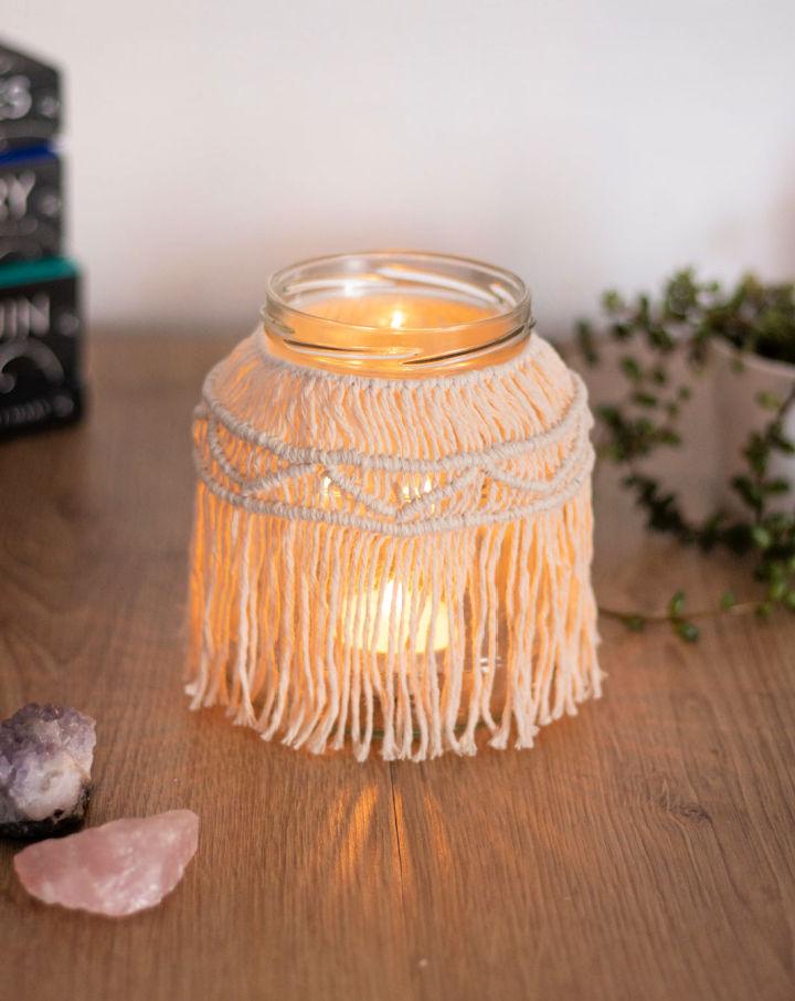Macrame Jar Candle Holder