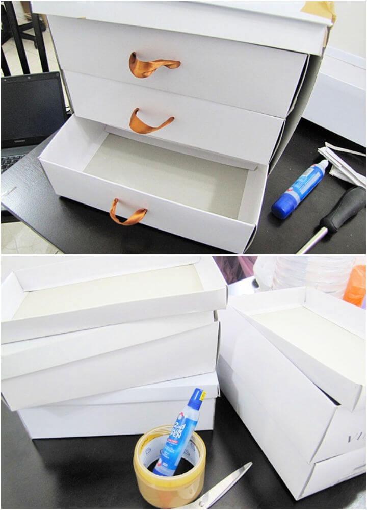 Makeup Organizer Drawer Using Shoe Boxes