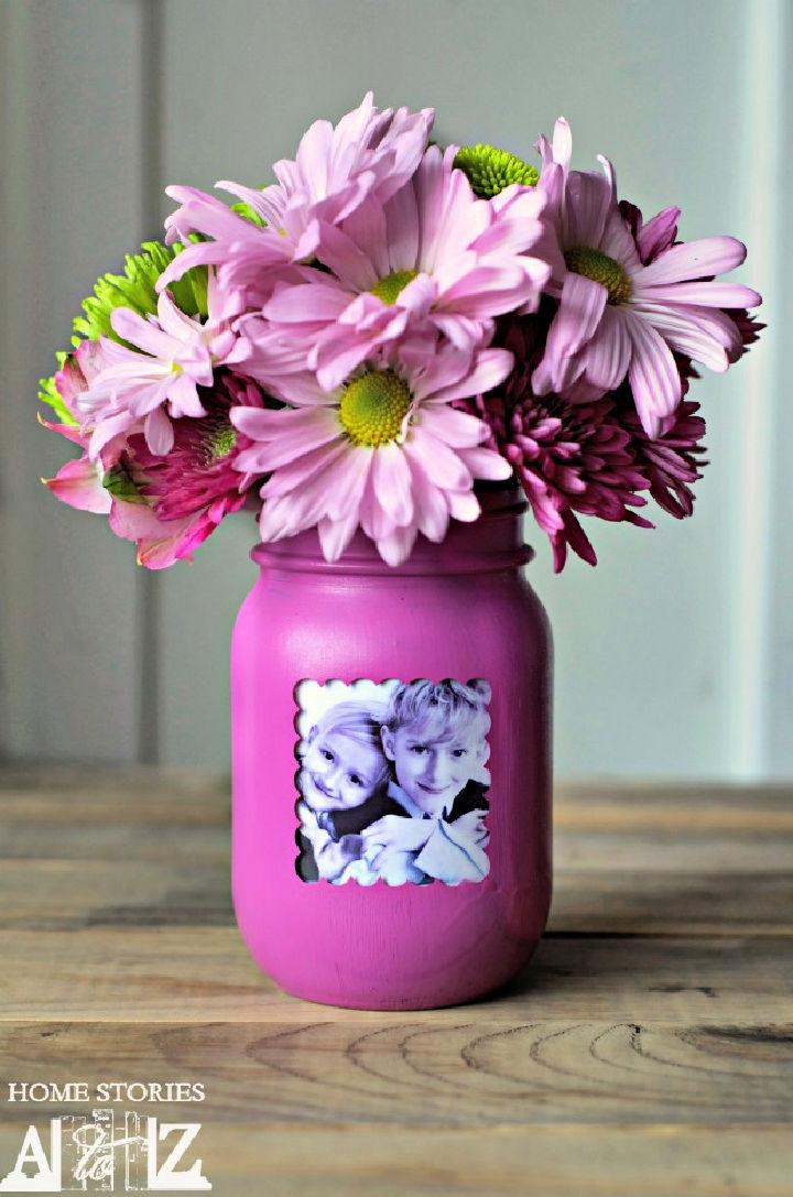Mason Jar Picture Vase