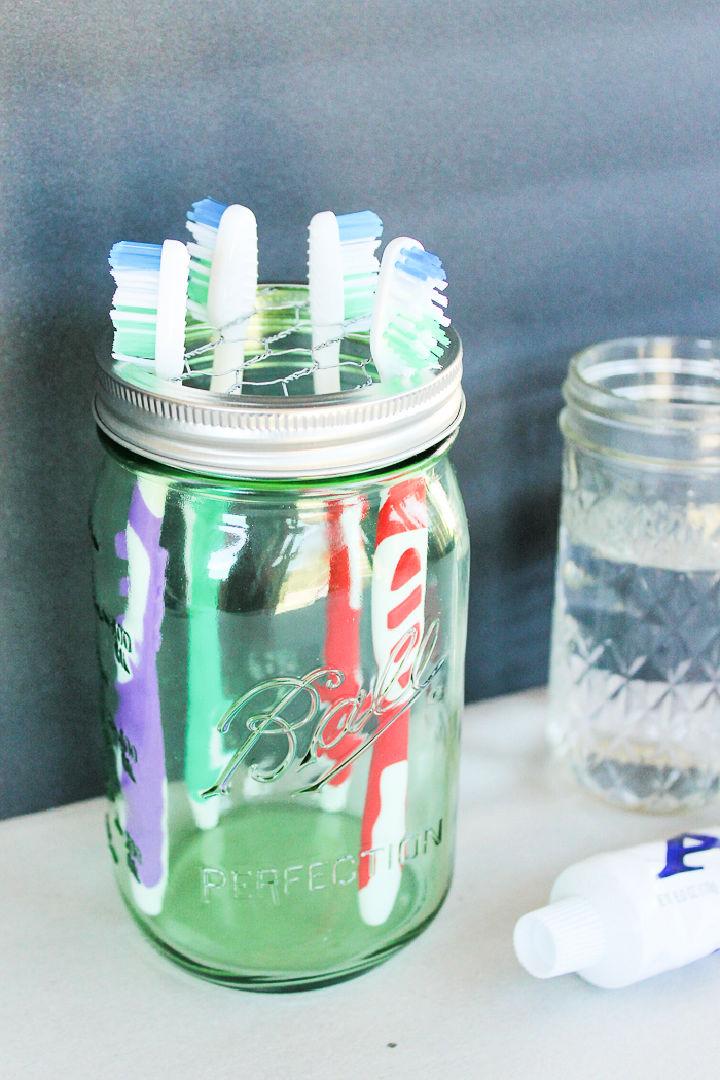 Mason Jar Toothbrush Holder 1