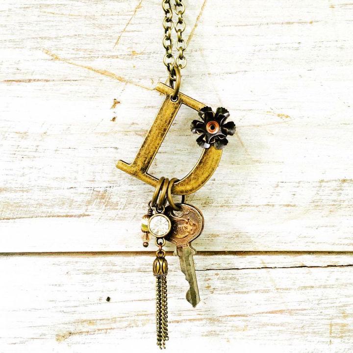 Monogram Jewelry With Old Keys