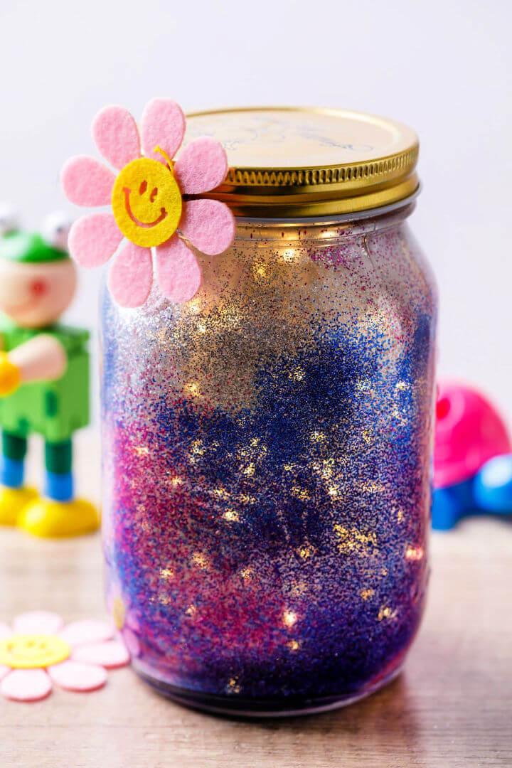Night Light Glitter Jar for Kids