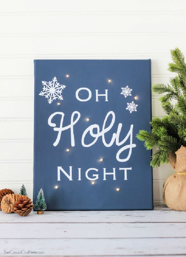 Oh Holy Night Twinkle Light Canvas Art