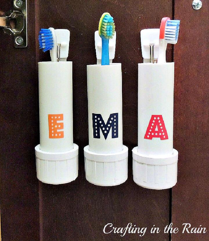 PVC Pipe Toothbrush Holders