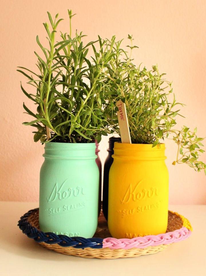 Painted Mason Jar Herb Garden 1