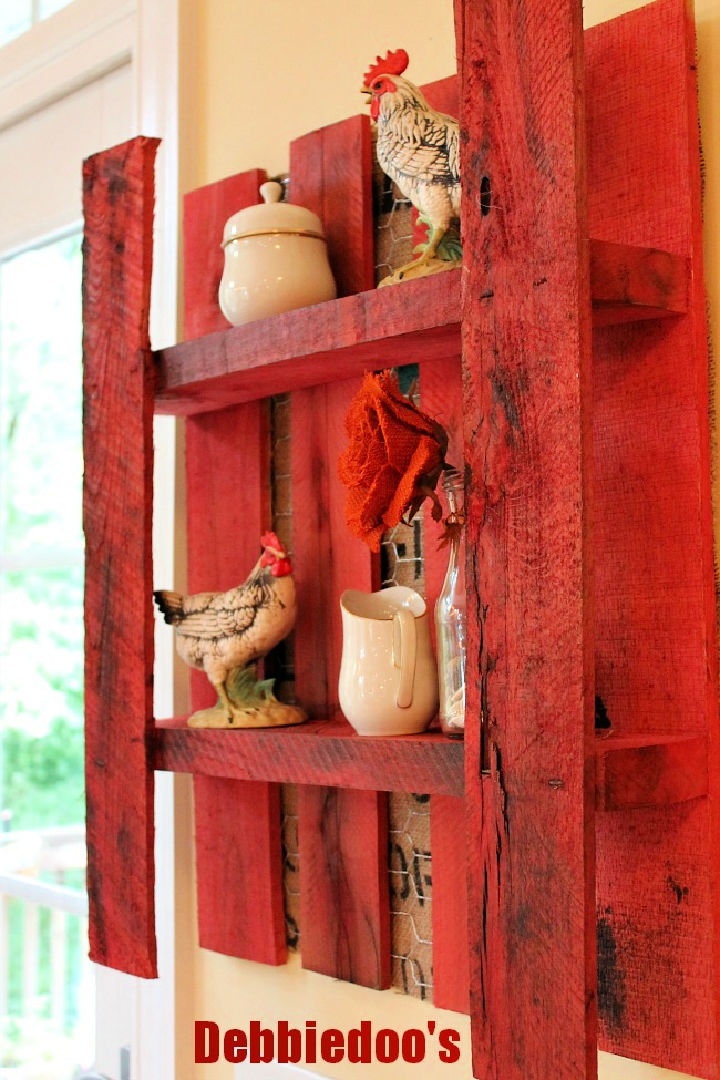 Pallet Shelf with Burlap and Chicken Wire