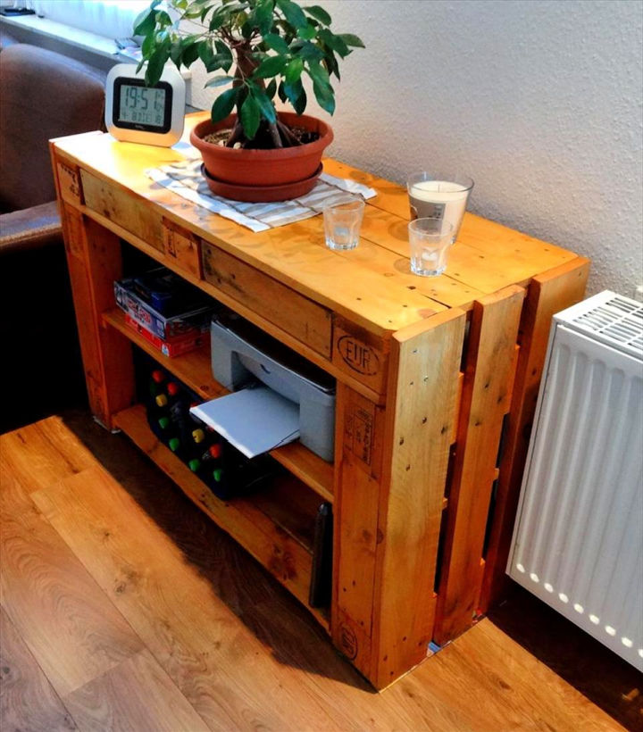 Pallet Sofa Side Table with Drawers