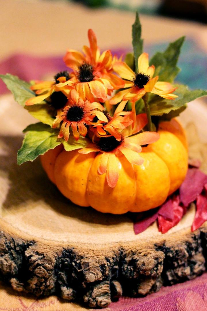 Pumpkin Flower Vase Centerpiece