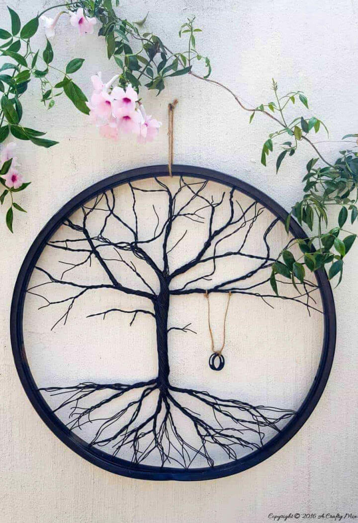 Re purpose a Bicycle Wheel to Make a Tree of Life