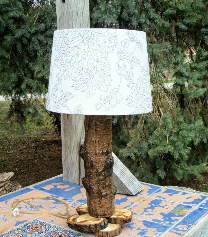Rustic Log Lamp with Led Power