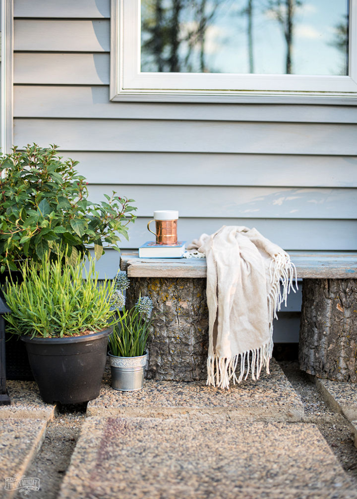 Rustic Log and Reclaimed Wood Garden Bench