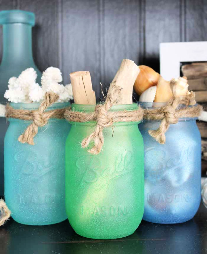 Sea Glass Painted Mason Jars
