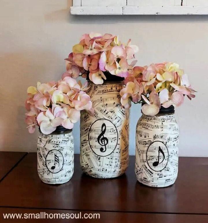 Sheet Music Mason Jar Vases