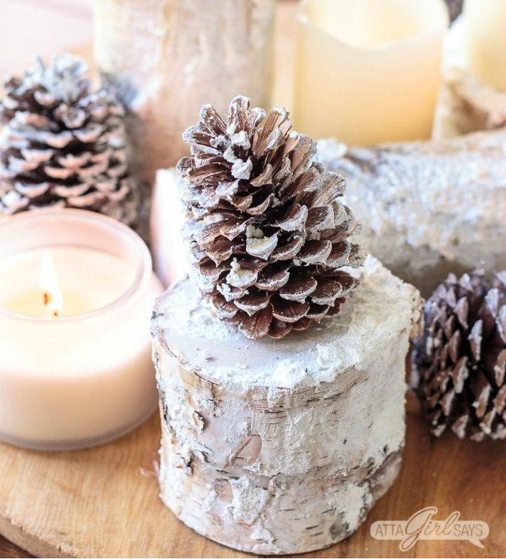 Snowy Birch Logs Winter Centerpiece