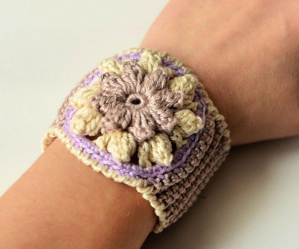 Spring Flower Crocheted Bracelet