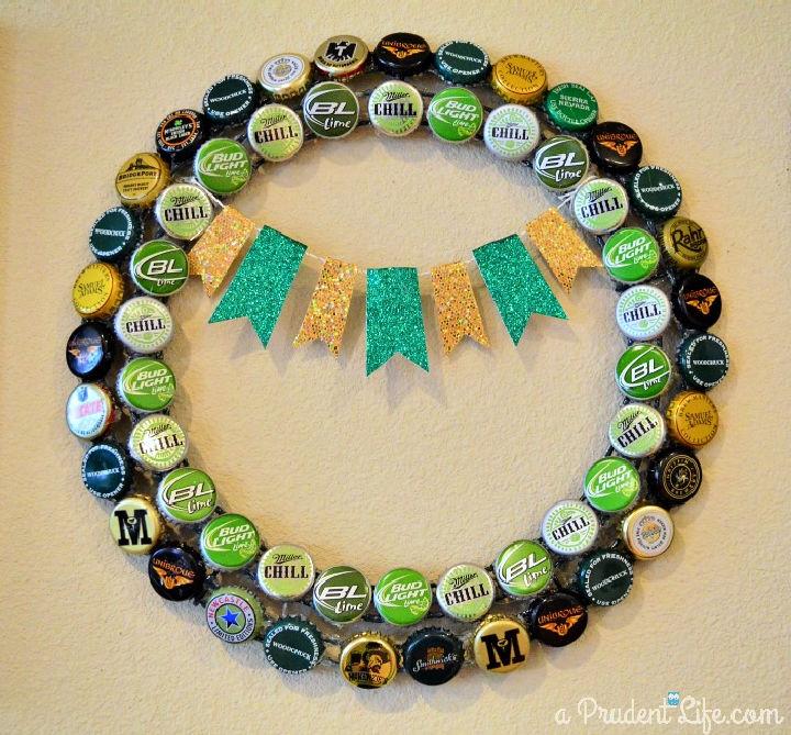 St. Patricks Day Beer Cap Wreath