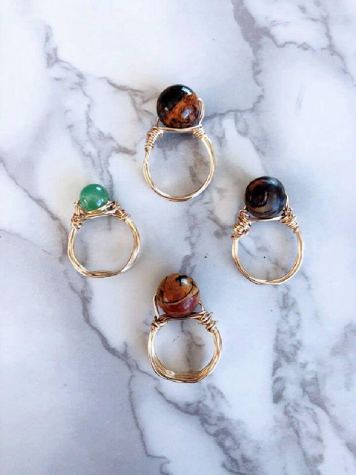 Stone Wire Wrapped Rings