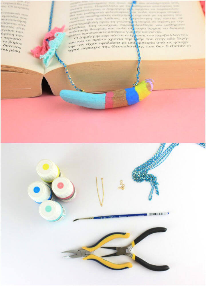 Summer Painted Driftwood Necklace