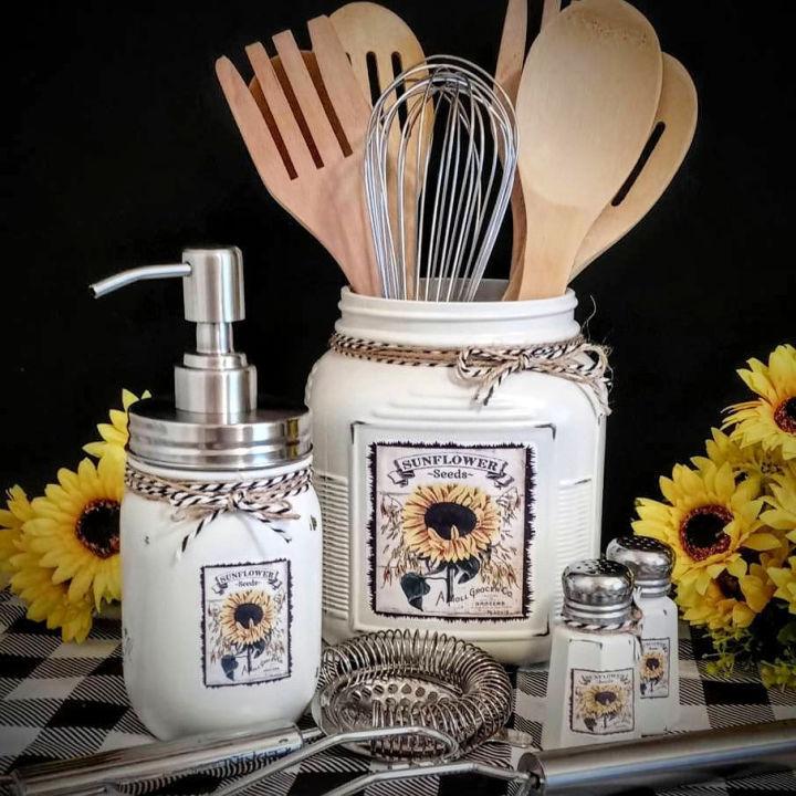 Sunflower Utensil Holder and Soap Dispenser