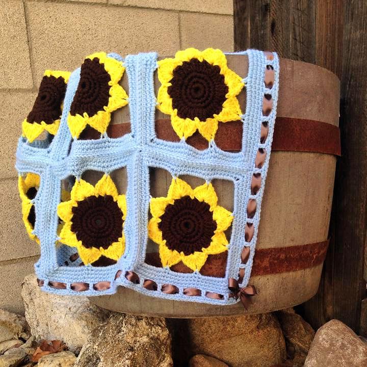 Sunflower Window 9 Patch Crochet Blanket