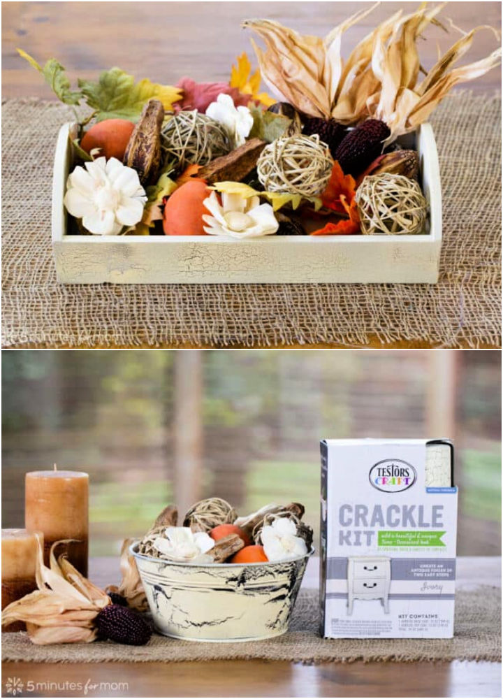 Thanksgiving Centerpieces Using Crackle Spray Paint