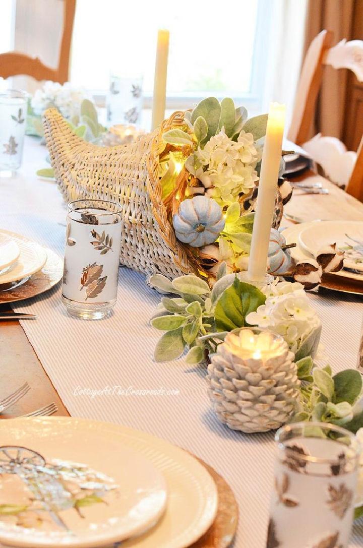 Thanksgiving Tablescape with Cornucopia Centerpiece