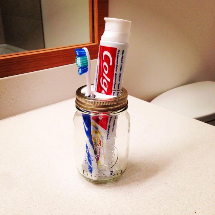 Toothbrush Holder Using Mason Jar