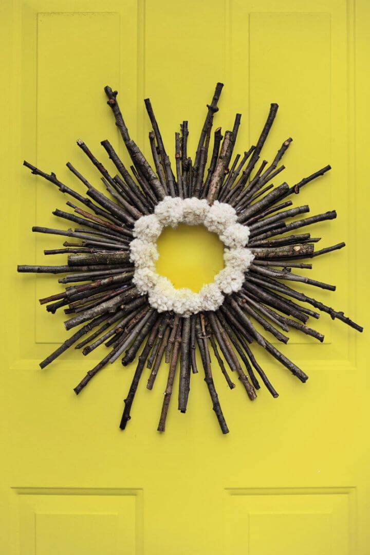 Twig Pom Pom Starburst Wreath