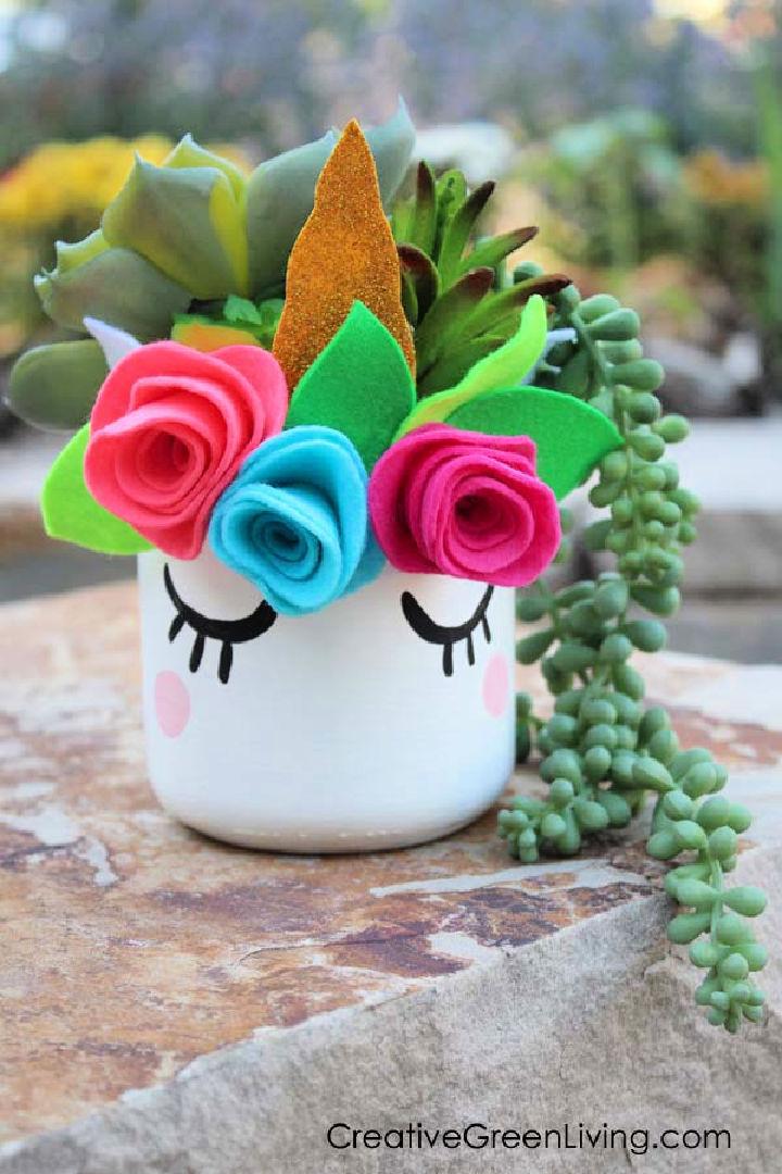 Unicorn Mason Jar Succulent Planter