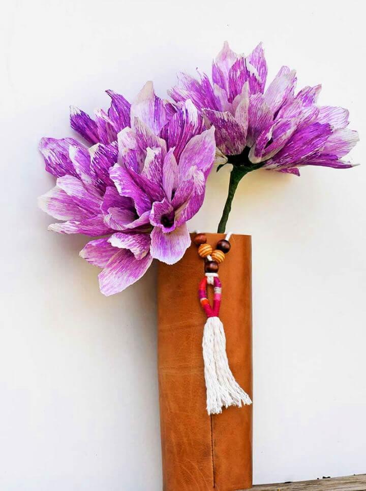 Upcycled Leather Boho DIY Vase