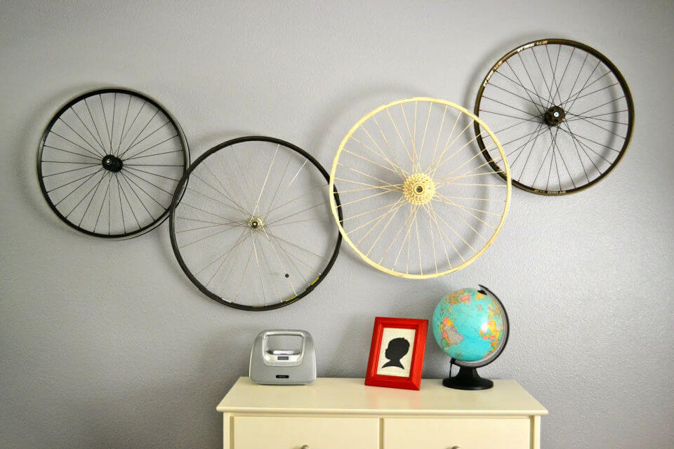 Wall Hanging From Bike Wheels
