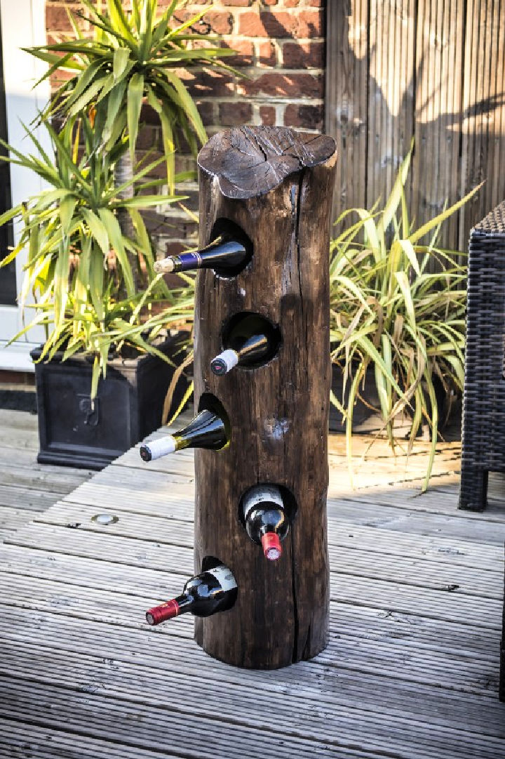 Wine Rack from an Old Tree Stump