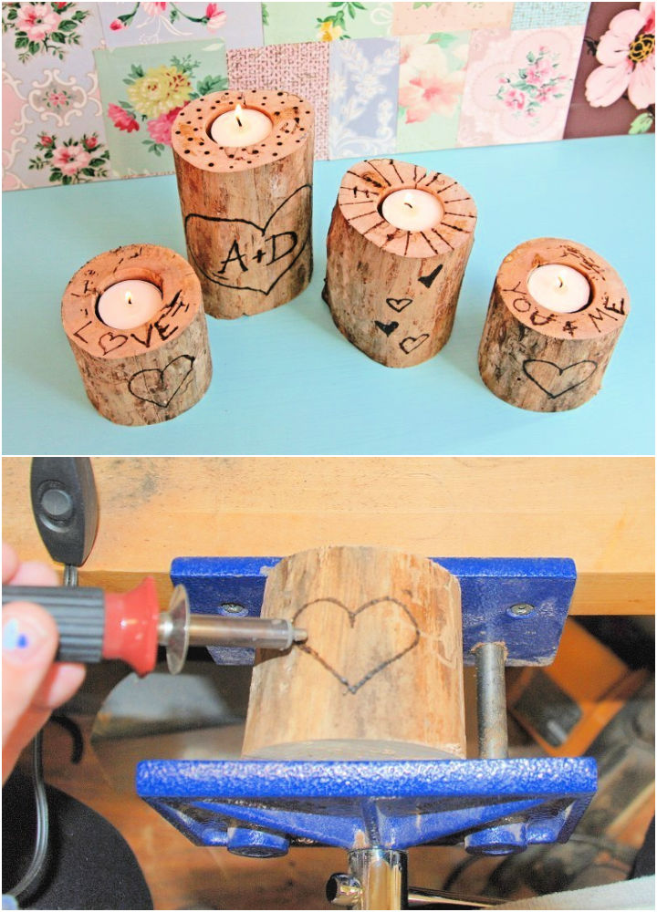 Wood Burned Tree Trunk Candle Holders