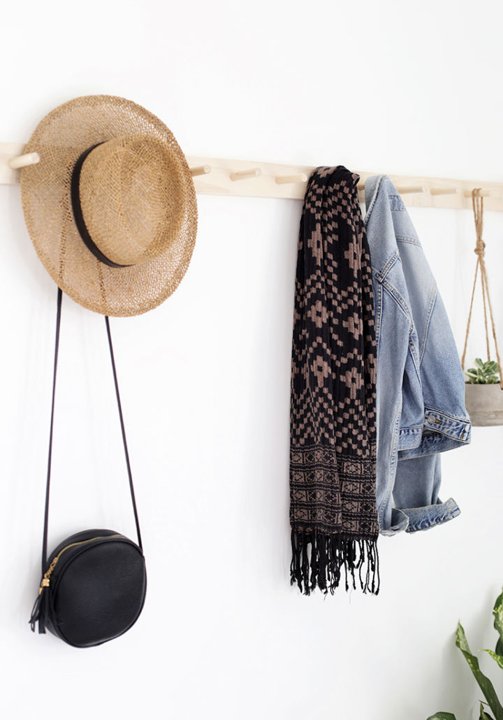 Wooden Wall Mount Hat Rack