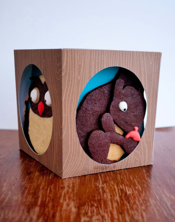 Woodland Cookies and Tree Trunk Gift Box