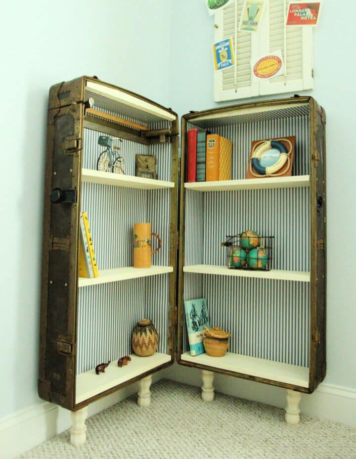 Antique Suitcase Into Bookshelf