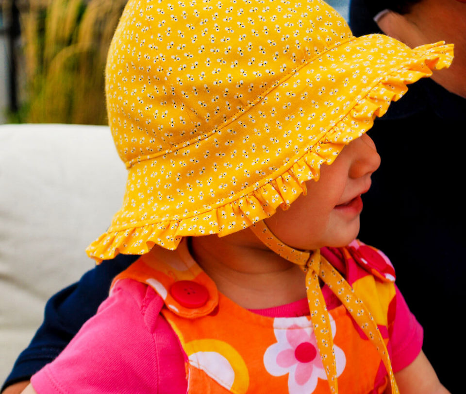 Baby Bonnets with Ruffles and Ties