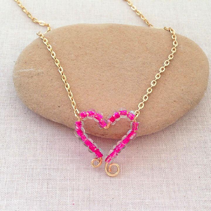 Beaded Heart Frame Necklace Pendant