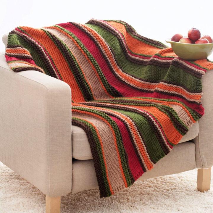 Bernat Yarn Basic Stripes Crochet Blanket