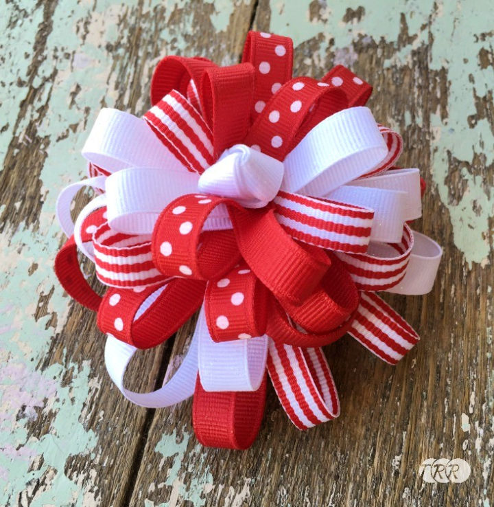 Big Loopy Stacked Hair Bow Out of Ribbon