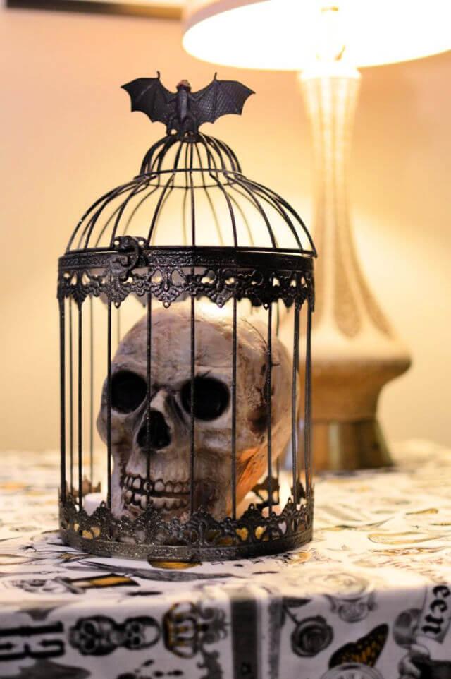 Birdcage into Halloween Centerpiece