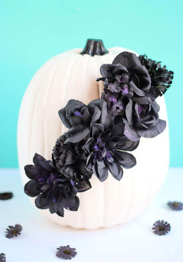 Black Flower Pumpkin Centerpiece