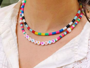 Color Blocked Disk Beaded Necklace
