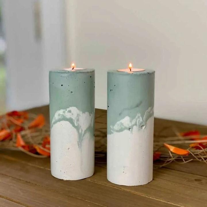 Concrete Pillar Candle Holders