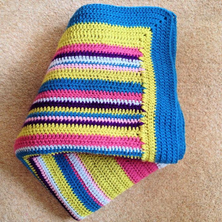 Crochet Bright Stripy Blanket
