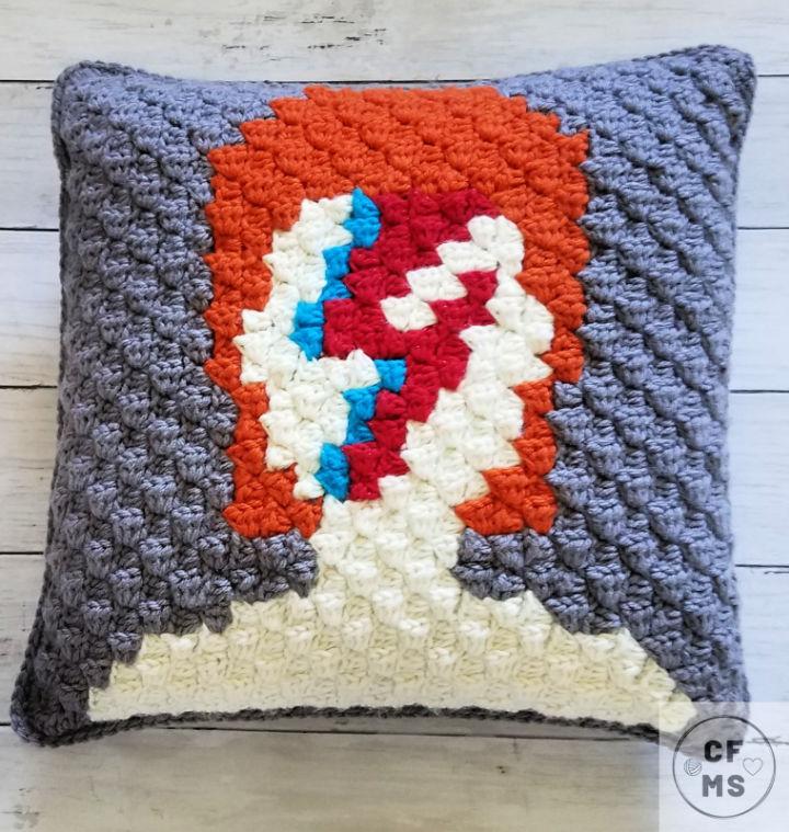 Crochet C2C David Bowie Pillow