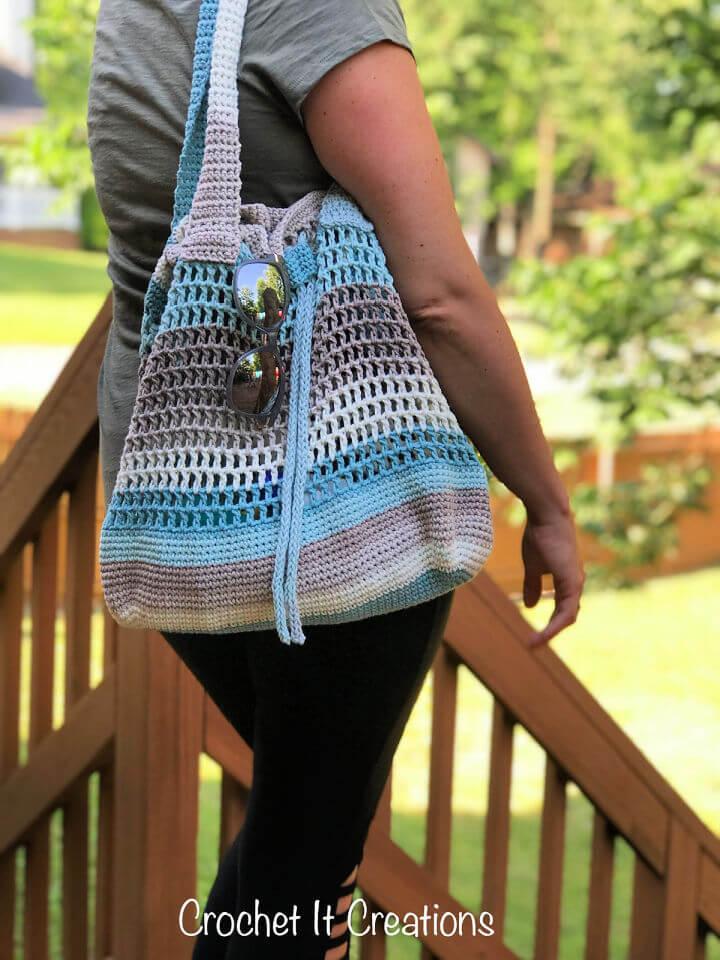 Crochet Drawstring Tote Bag