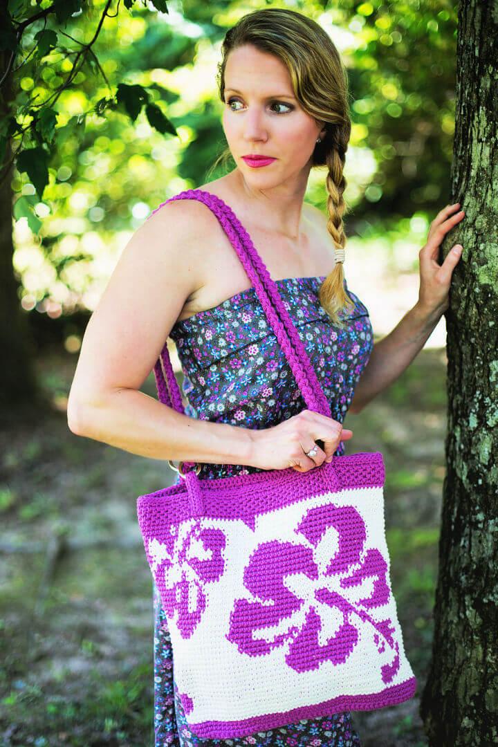 Crochet Hibiscus Tote Bag